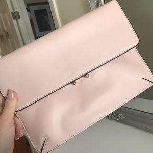 Mango Light Pink & Gold Clutch Handbag